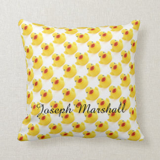 Yellow Rubber Ducky with Script Text Throw Pillow