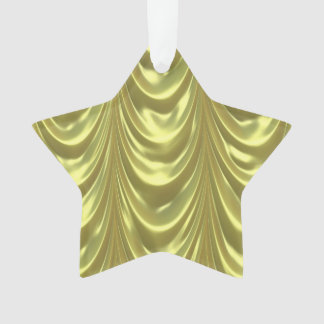 Yellow Ruched Satin Scalloped Pattern Ornament