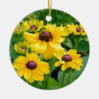 Yellow rudbeckia flower garden ceramic ornament