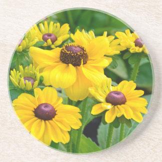 Yellow rudbeckia flower garden sandstone coaster