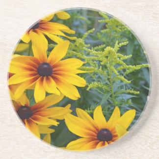 Yellow rudbeckia flowers in bloom drink coaster