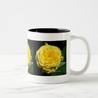 Yellow Ruffle Rose Two-Tone Coffee Mug
