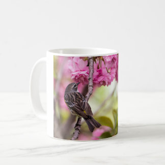 Yellow Rumped Warbler on Cherry Blossoms Coffee Mug