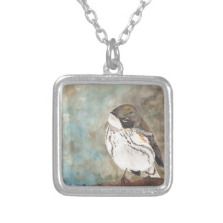Yellow-rumped Warbler Square Pendant Necklace