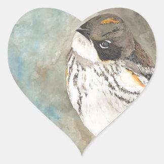 Yellow-rumped Warbler Heart Sticker