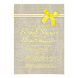 Yellow Rustic Burlap Bridal Shower Invitations Invitation