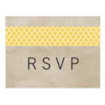 Yellow Rustic Quatrefoil RSVP Postcard