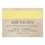 Yellow Rustic Quatrefoil Save the Date Invite