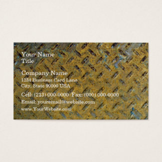 Yellow Rusty Metal Tread Texture Business Card
