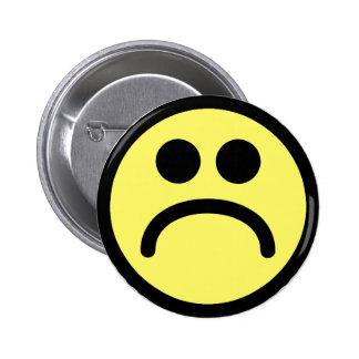 Yellow Sad Smiley Face Pinback Button