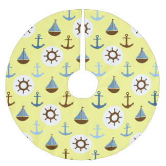 Yellow Sailboat Pattern Brushed Polyester Tree Skirt