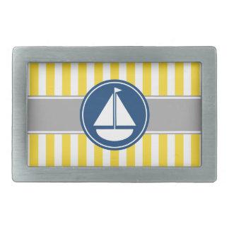 Yellow Sailboat Stripes Belt Buckle