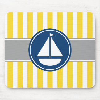 Yellow Sailboat Stripes Mouse Pad