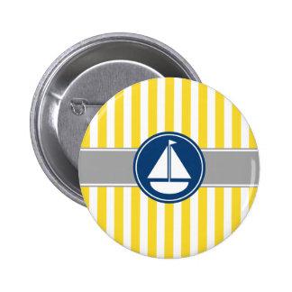 Yellow Sailboat Stripes Pinback Button