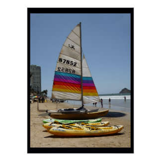Yellow Sailing Kayak Poster