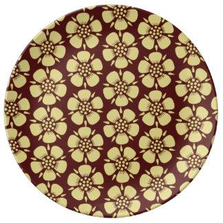 Yellow Sakura Blossoms Porcelain Plate