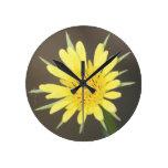 Yellow Salsify Round Wall Clocks