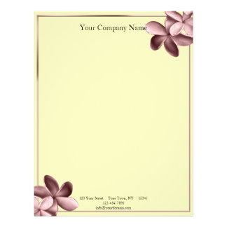 Yellow Sand and Pink Plumeria Letterhead