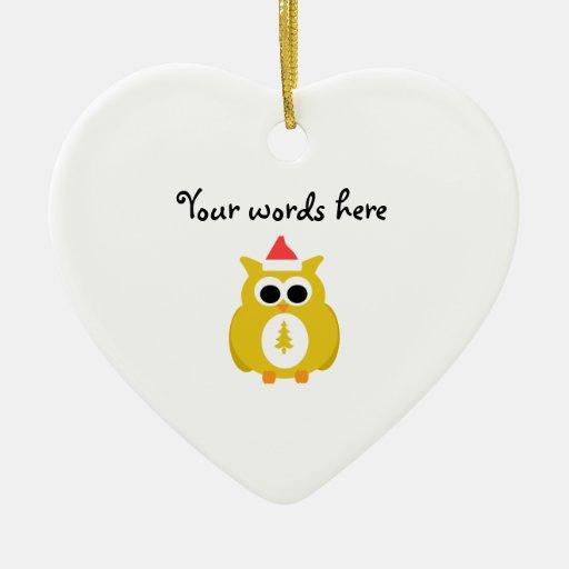 Yellow santa owl ornament