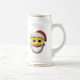 Yellow santa smilie beer stein