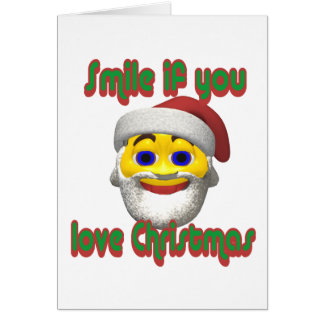 Yellow santa smilie  smile if you love christmas card