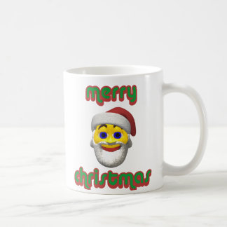 Yellow santa smilie with merry christmas coffee mug