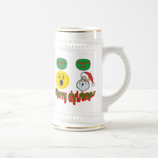 Yellow santa smilie with santa does exist smilie coffee mugs