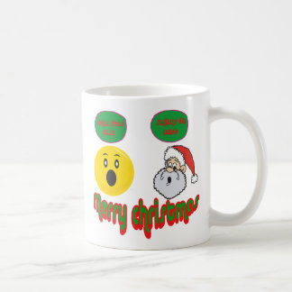 Yellow santa smilie with santa does exist smilie mugs