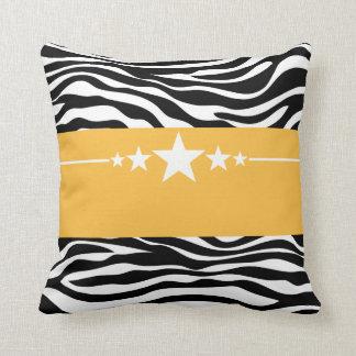 Yellow Sassy Star Zebra Pillow