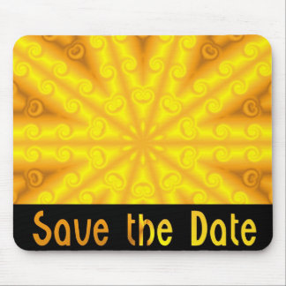 Yellow Save the Date Mouse Mats