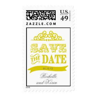 Yellow Save the Date Stamp - Wedding Postage
