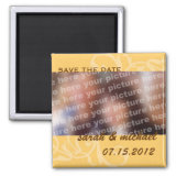 Yellow save the date wedding announcement photo fridge magnet