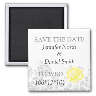 Yellow Save The Dates 2 Inch Square Magnet