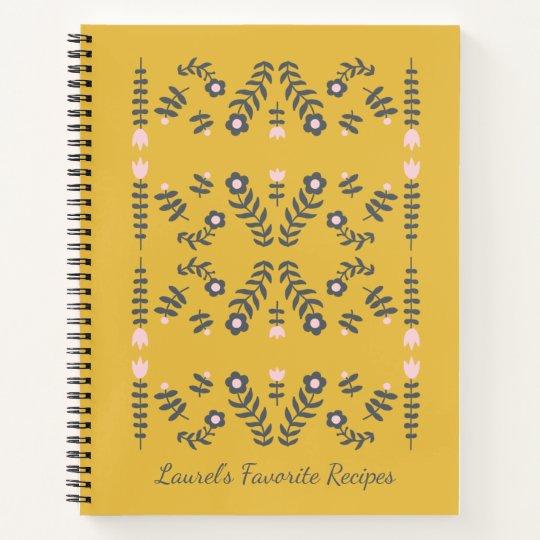 Yellow Scandinavian Flower Personalized Recipe Notebook