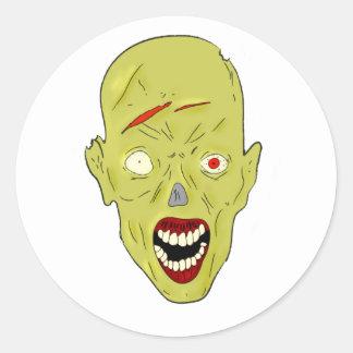 yellow scarred zombie classic round sticker