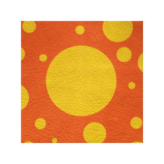 Yellow Scattered Spots on Orange Leather Texture Canvas Print