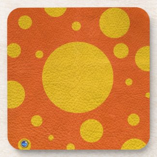 Yellow Scattered Spots on orange leather texture Beverage Coasters