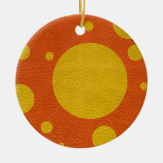Yellow Scattered Spots on Orange Leather Texture Christmas Tree Ornaments