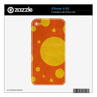 Yellow Scattered Spots Tangerine leather texture iPhone 4 Decals