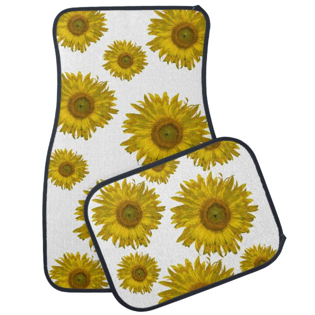 Yellow Scattered Sunflowers Car Mat Set Zazzle