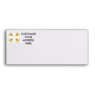 Yellow scattered wildflowers 4 up on white envelope