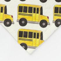 Yellow School Bus Buses Driver Teacher Education Fleece Blanket