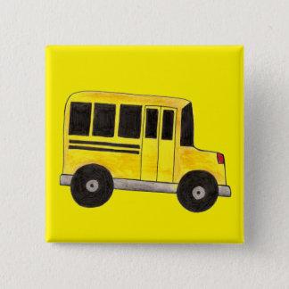 Yellow School Bus Buses Driver Teacher Gift Button