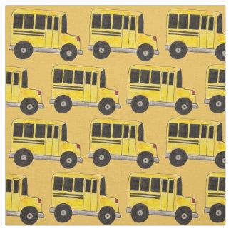 Yellow School Bus Buses Education Teacher Fabric