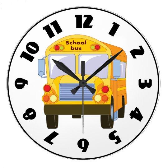 yellow school bus clock zazzle com rh zazzle com Cartoon Clock Clip Art School Bell Clip Art