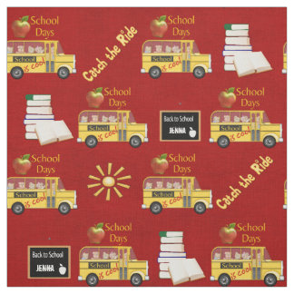 Yellow School Bus Fabric
