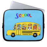 Yellow School Bus filled with Cartoon Animals Computer Sleeves
