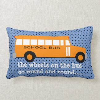 Yellow School bus on Blue w Polka Dots Lumbar Pillow