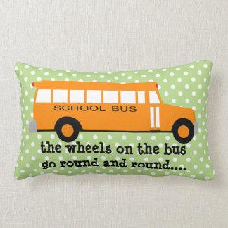 Yellow School bus on Pale Green w Polka Dots Lumbar Pillow