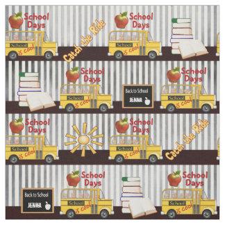 Yellow School Bus Striped Fabric
